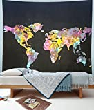 Aakriti Gallery Black and White Twin Tapestry Hippie Wall Hanging Art Decor Single Mandala Tapestry Hippie Dorm 84X55 inches (Multi World)