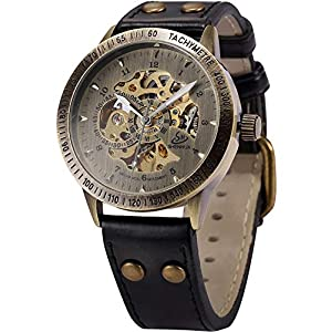 Carrie Hughes Men's Vintage Steampunk Automatic Watches Self-Winding Mechanical Bronze Skeleton Leather Waterproof Watch