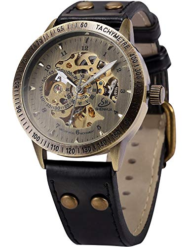 Carrie Hughes Men's Vintage Bronze Steampunk Skeleton Automatic Mechanical Stainless Steel Leather Watch CH40