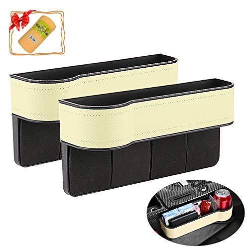 Organizador de espacio para asiento de coche de piel sintética, 2 paquetes, con soporte para vasos, organizador lateral para teléfono móvil, cartera, tarjetas, consola de coche (beige)