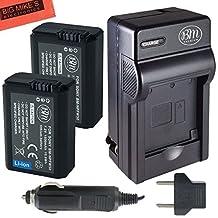 BM Premium 2-Pack Of NP-FW50 Batteries & Charger for Sony DSC-RX10/B, DSC-RX10 II, DSC-RX10 III, Alpha A6300, Alpha 7, A7R, A7R II, A7S, A7S II, A7II, A3000, A5000, A5100, A6000, NEX-3, NEX-C3, NEX-F3K, NEX5, NEX5K, NEX5N, NEX5T, NEX6, NEX7, SLT-A33, SLT-A35, SLT-A37, SLT-A55, ILCE-QX1 Digital Camera