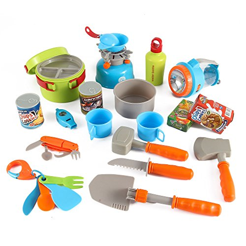 - Little Explorers 20 Piece Camping Gear Toy Tools Play Set for Kids