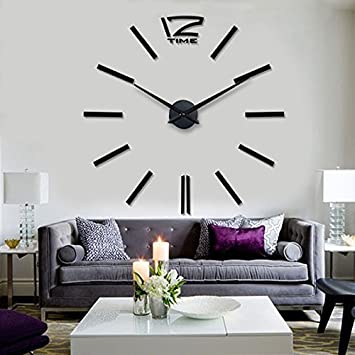 Amyove luxury large diy 3d wall clock home decor bell cool mirrors stickers art watch black