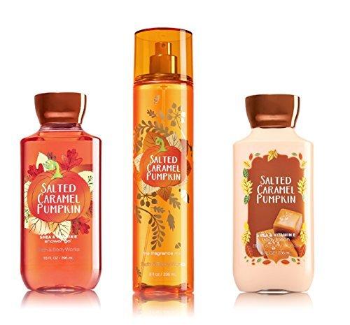 Bath & Body Works ~ Signature Collection ~ Salted Caramel Pumpkin ~ Shower Gel ~ Fine Fragrance Mist & Body Lotion ~ Trio Gift Set