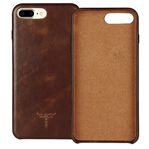 iPhone 7 Plus Case iPhone 8 Plus Case FRIFUN Genuine Leather Hard Back Case Thin Fit Snap Case Excellent Grip Apple iPhone 7 Plus/8 Plus 5.5 inch (Dark Brown) (Leather Case Dark Brown)