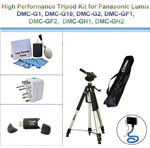 High Performance Tripod Kit for Panasonic Lumix DMC-G1, DMC-G10, DMC-G2, DMC-GF1, DMC-GF2, DMC-GH1, DMC-GH2; includes a Flexible Monopod, Universal Adapter, USB 2.0, and 5PC Lens Cleaning Kit by ClearMax