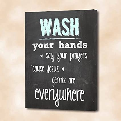 Exceptional FRAMED CANVAS PRINT (CHALKBOARD LOOK) Wash Your Hands U0026 Say Your Prayers  U0027cause