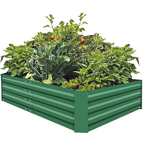 FOYUEE Metal Raised Garden Beds for Vegetables Large Planter Box Steel Gardening Kit Outdoor Herb, Green, ()