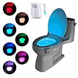 Suyi LED Toilet Light Sensor Motion Activated Glow Toilet Bowl Light Up Sensing Toilet Seat Night Light Battery Operated - Energy Saving For Bathroom & Washroom