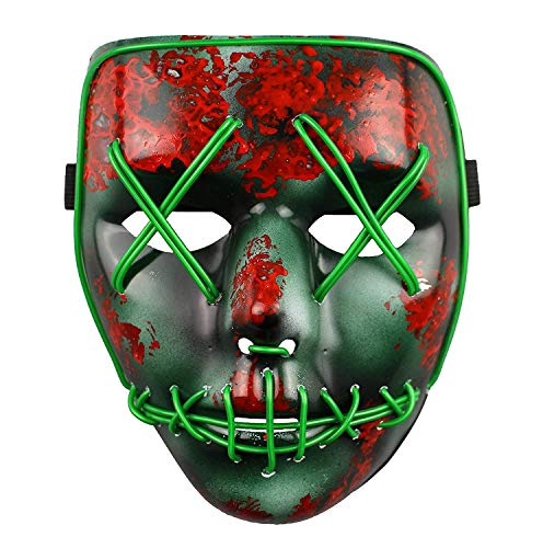 Original Purge Mask: Election Year, Green LED. Light Up! Fourth of July, Halloween, Raves. -