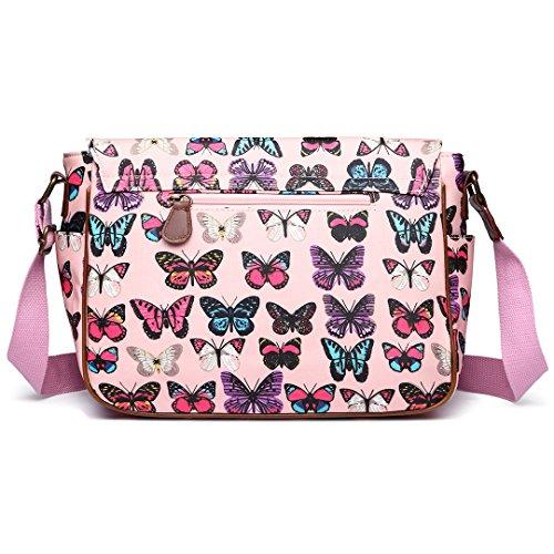 Lulu Miss En Cirée Bandoulière Butterfly Sacoche Pink Avec Toile qCUCrgxd