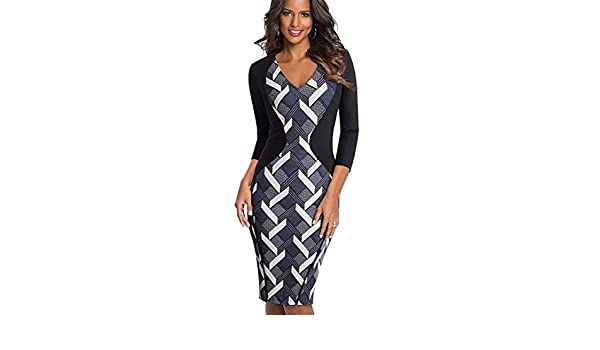 Vintage Optical Illusion Cobbled Wear Work Vestidos Bodycon Office Pencil Dress Black and Geometric S at Amazon Womens Clothing store:
