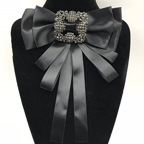 Ribbon Crystal Pre-Tied Neck Tie Brooch Pin Bow Tie Patriotic Collar Jewelry Giftbow tie ()
