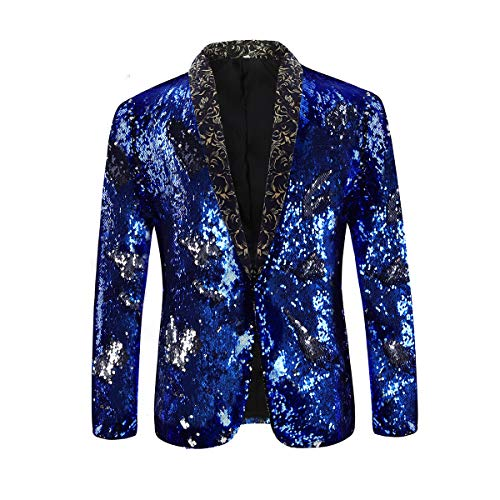 Men's Sport Coat Slim Fit Notched Lapel Sequins Dance Party Blazer Jacket (Blue-Silver, XX-Large) from Cloudstyle