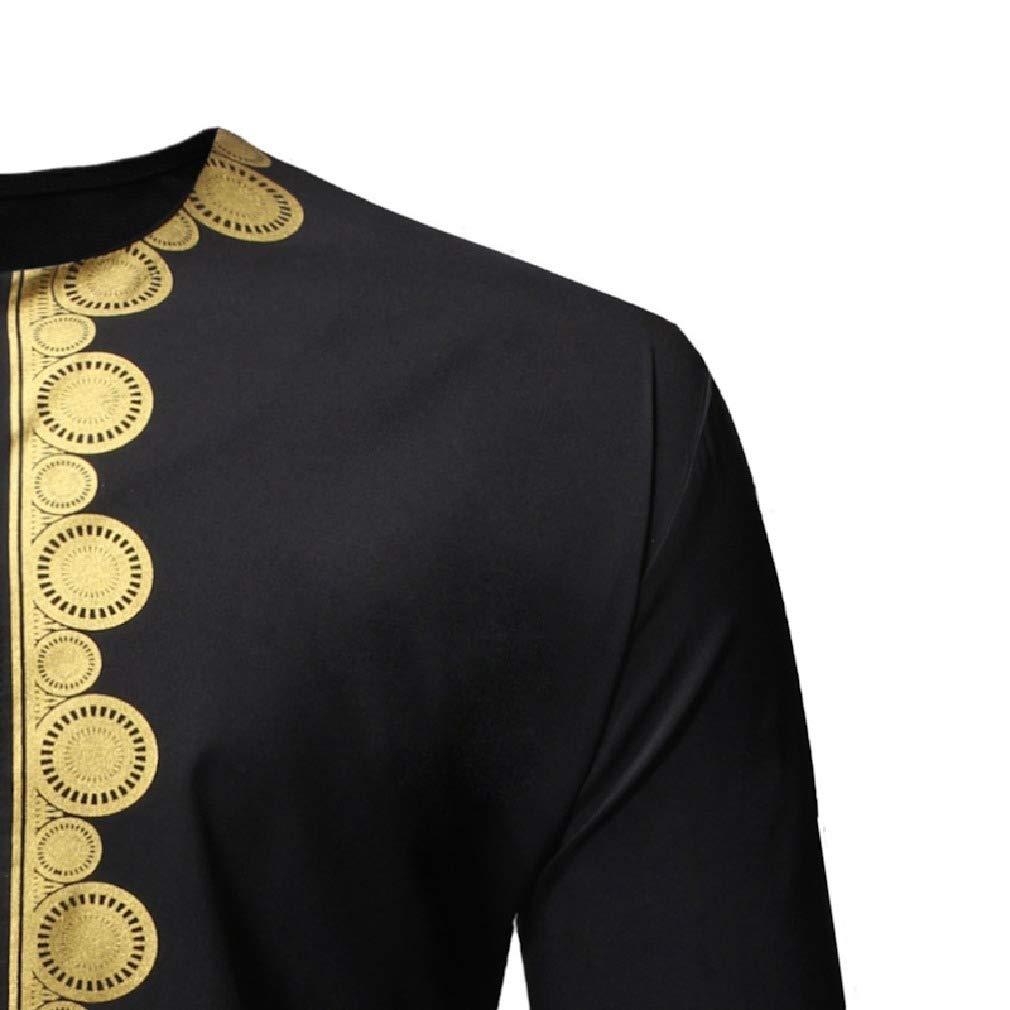 Tralounry Mens Basic Round Neck Dashiki Patterned Button Dress Shirts Tops