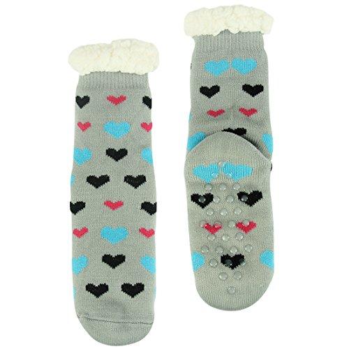 Voorvoet Womens Winter Warm Thermische Fleece Gevoerd Gebreide Vakantie Fuzzy Slipper Sokken Met Grijpers Grijs Hart