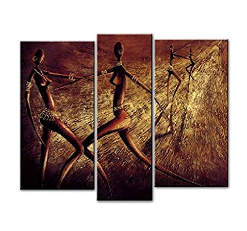 African Dancers Large Modern Home Decorations Wall Decor 100% Hand Painted Contemporary Artwork Abstract Oil Paintings on Canvas Wall Art Stretched and Framed for Living Room Bedroom (3 Panel)