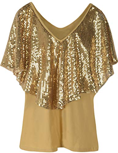 PrettyGuide Women's Cold Shoulder Tops Sequined Cape Stretchy Shimmer Blouse Tops S Gold