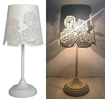 "15"" Bed Side Table Lamp Desk Lamp With Rose Lamp Shade"