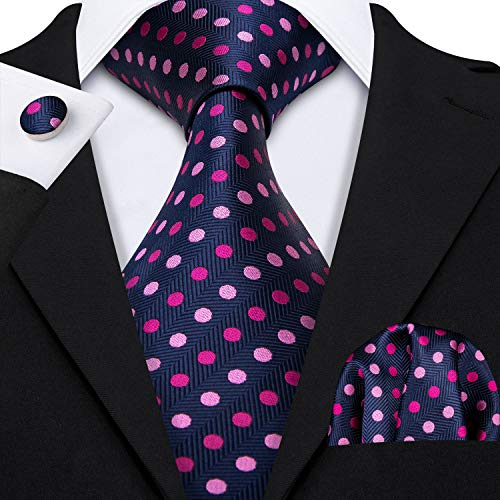 Barry.Wang Fashion Blue and Purple Dot Tie for Men Woven,Blue Pink,One -