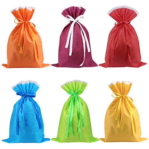 Non-Woven Drawstring Bag, Sdootjewelry 6 Pack Gifts Bag Drawstring, Large Party Favor Bags with Drawstring for Gift, Candy, Goody, Storage(Assorted Color)