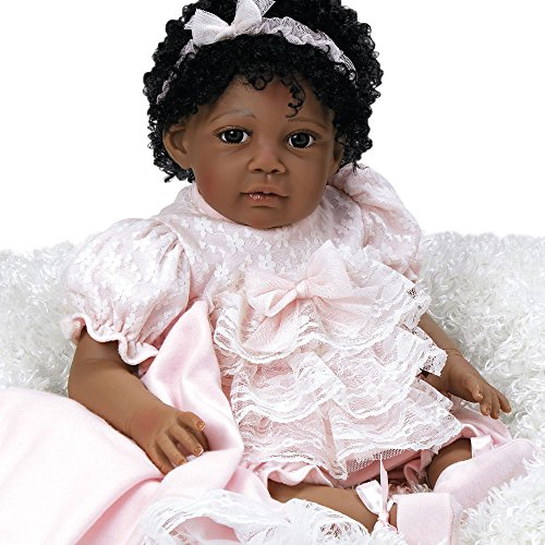 Paradise Galleries Reborn African American Black Toddler Doll Chantilly, 20 inch Weighted Girl in GentleTouch Vinyl, 6-Piece -