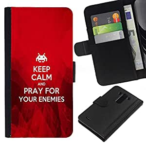 All Phone Most Case / Oferta Especial Cáscara Funda de cuero Monedero Cubierta de proteccion Caso / Wallet Case for LG G3 // BIBLE Keep Calm And Pray For Your Enemies