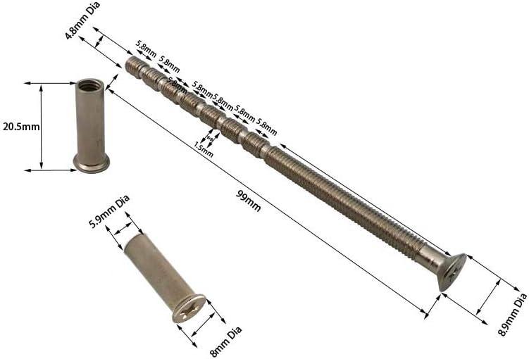 cerradura de puerta Tornillos de fijaci/ón M5 para manilla de puerta de patio perilla 99 mm, color n/íquel 4 unidades rosas escorcheones cilindro