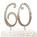 60 Gold Cake Topper | Premium Sparkly Crystal Rhinestones | 60th Birthday or Anniversary Party Decoration Ideas | Quality Metal Alloy | Perfect Keepsake (60)