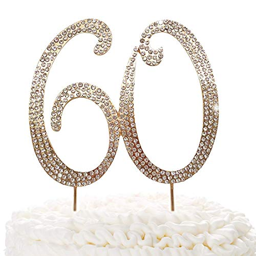 60 Gold Cake Topper | Premium Sparkly Crystal