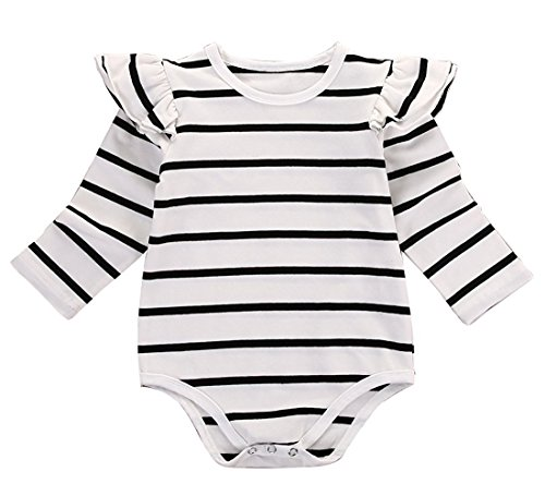 GSHOOTS Baby Girls' Clothes Long Butterfly Sleeve Ruffled Bodysuit Fly Sleeve Romper (70 / 0-6 Months, Striped White) (Onesie Striped Bodysuit)