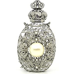 Czech Victorian Style Decorative Perfume/Oil/Holy Water Bottle Holder Necklace/Pendant (silver tone)