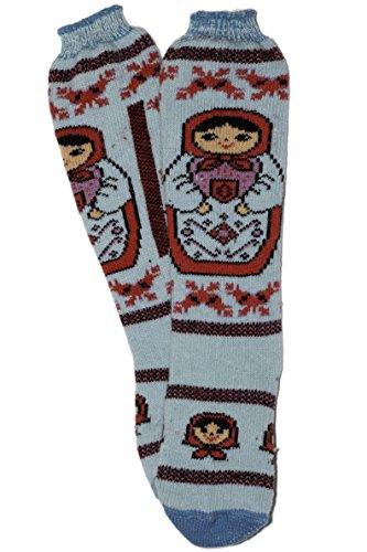 Soft Cozy Knee length Russian Matryoshka Design 100% Lambs Wool by Granny's Knitwear (Length Heavyweight Merino Wool Sock)
