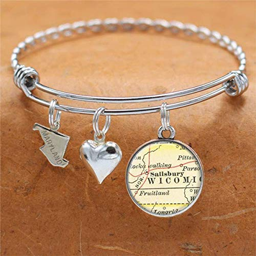 Maryland Map Bracelet Salisbury MD USA States Cities Towns Vintage Map Jewelry -
