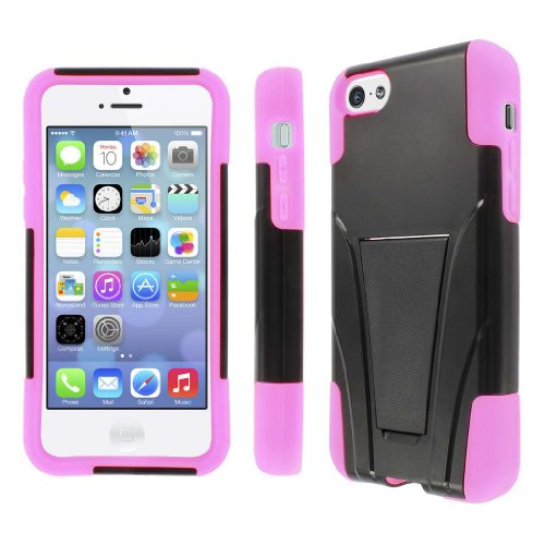 MPERO Collection Difficile Robuste Armor Kickstand Black Noir and Hot Pink Case Cover Shell for Apple iPhone 5C