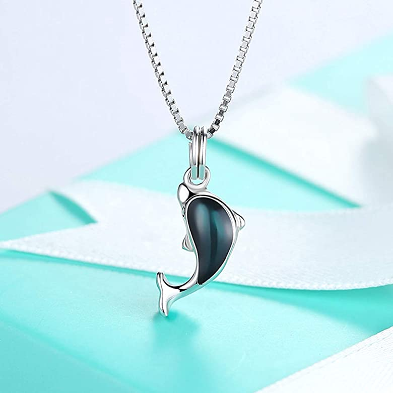 Qijavan - Collar con Colgante de delfín de Plata de Ley 925 con ...