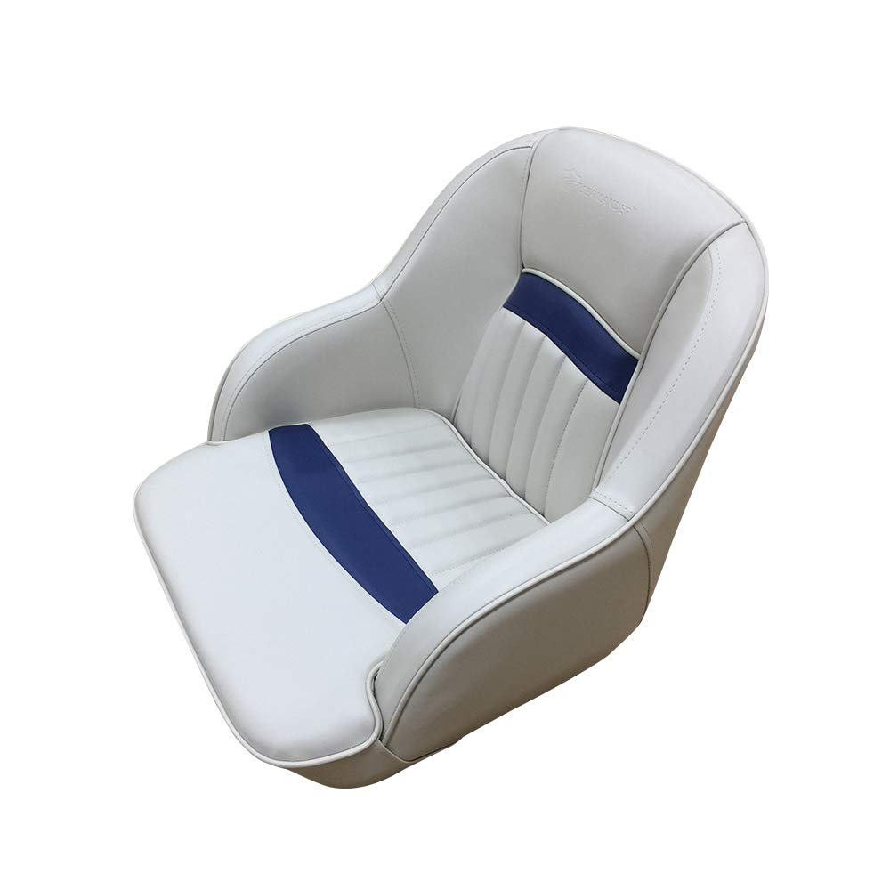 Seamander Captains Chair Pontoon Boat seat -S1040 Series (Ivory/Navy Blue)