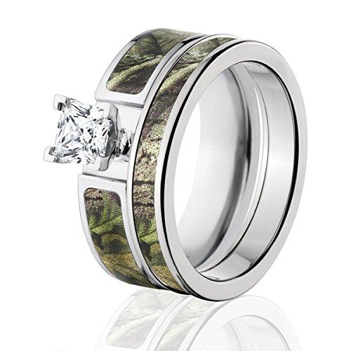 Amazoncom Realtree Camo Bridal Set Camo Wedding Rings AP Green
