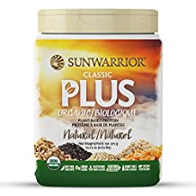 Sunwarrior - Classic Plus, Raw Organic Plant Based Protein, Natural, 375 g