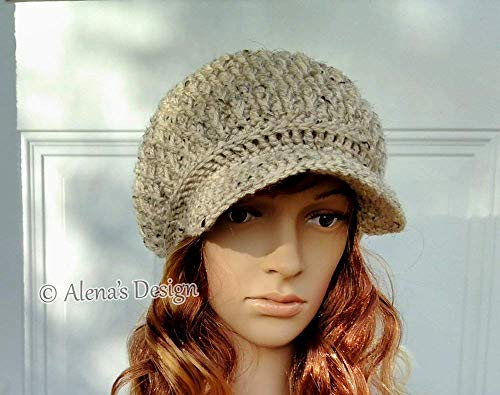 Crochet Newsboy Cap Visor Hat Crocheted Slouchy Hat Unisex Beige Grey Red Oatmeal Christmas Gift Made in USA