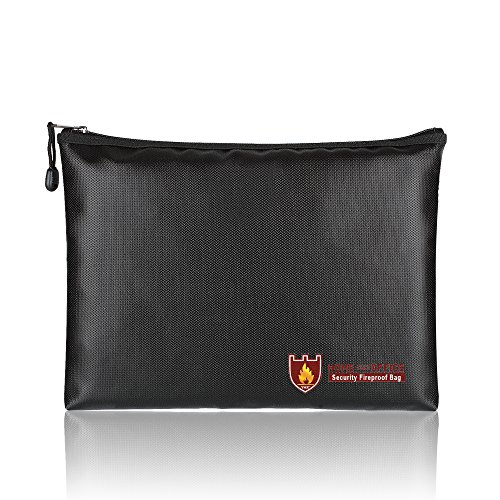Fire Safe Bags - Fireproof Document Bags, A4 Size Waterproof and Fireproof Bag with Fireproof Zipper for iPad, Money, Jewelry, Passport, Document Storage