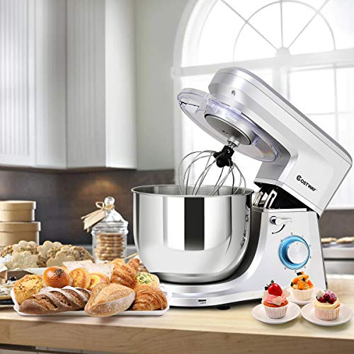 COSTWAY Stand Mixer, 7.5-Quart 660W 6-Speed Electric Mixer with Stainless Steel Bowl, Tilt-head Food Mixer with Dough Hook, Beater, Whisk (Sliver)