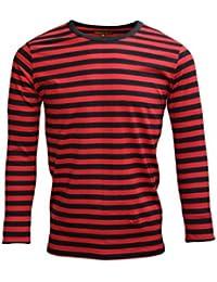 Mens 60's Retro Black & Red Striped Long Sleeve T Shirt