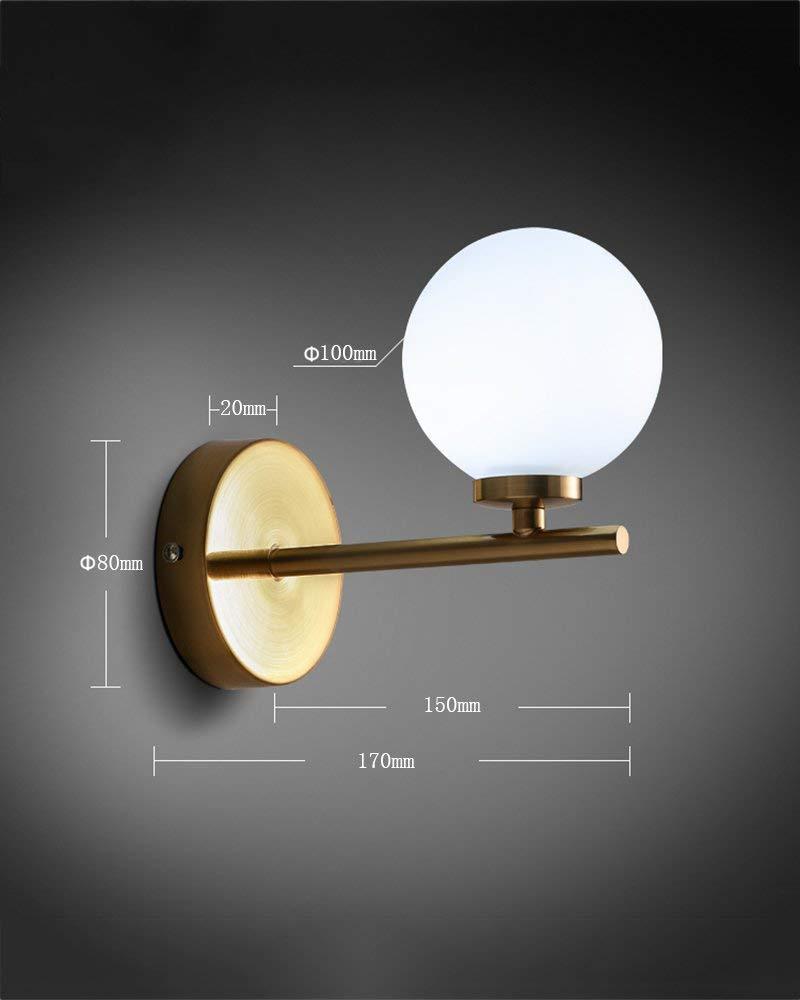 WLG Illuminazione Creativa della Parete - Lampada da Parete Moderna Semplice Lampada da Parete a Forma di Testa rossoonda Lampada da Soggiorno Creativa,1
