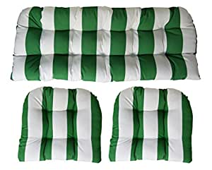 Sunbrella Cabana Emerald 3 Piece Wicker Cushion Set - Indoor / Outdoor Wicker Loveseat Settee & 2 Matching Chair Cushions - Green & White Stripe
