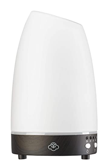 Serene House Ultrasonic Aroma Diffuser Astro White Glass And Dark Wood Beauty