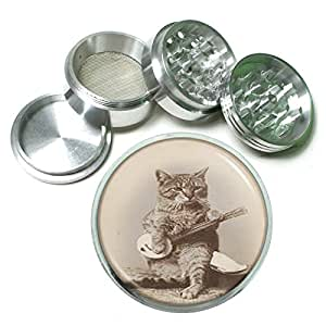 """Perfection In Style 63mm 2.5"""" 4 Pc Aluminum Sifter Magnetic Herb Grinder Vintage Cat Design 013"""