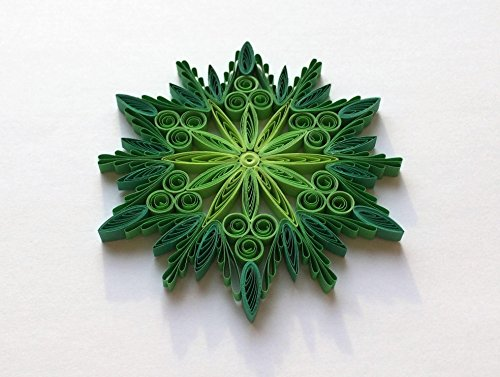 Quilling Art Paper Snowflake Star 3 7/8″ x 3 7/8″ Modern Home Decor Christmas Ornament Gift Hanging Accessories Green from JeAdoreQuilling