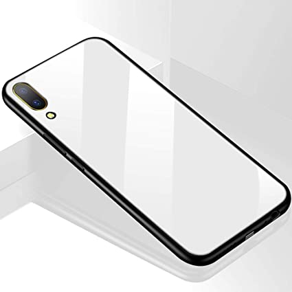 super popular 44aa3 f5806 TheGiftKart Luxurious Toughened Glass Back Case with Shockproof TPU Bumper  Back Case Cover for Vivo V11 Pro (White)