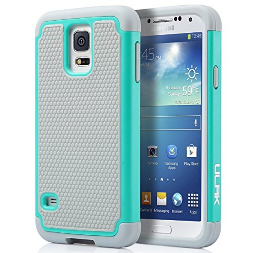 ULAK Galaxy S5 Case, S5 Phone Case Knox Armor Slim Shockproof Hybrid Silicone Rugged Rubber Hard PC Shell Protective Grip Cover for Samsung Galaxy S5 S V I9600 Mint (Best Samsung Galaxy S5 Phone Cases)